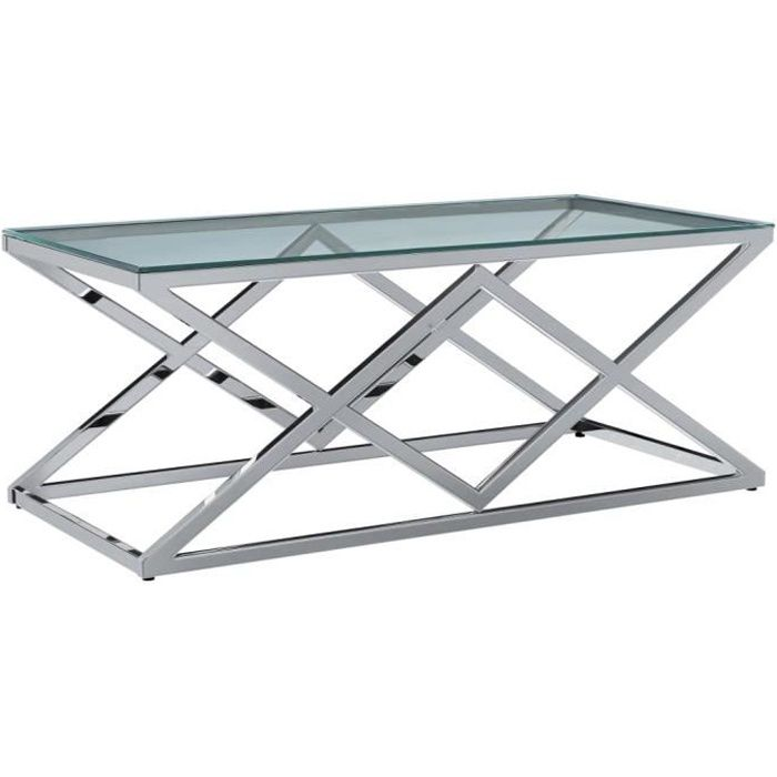 Table basse design scandinave salon contemporain Transparent 120x60x45 cm Verre trempé et inox