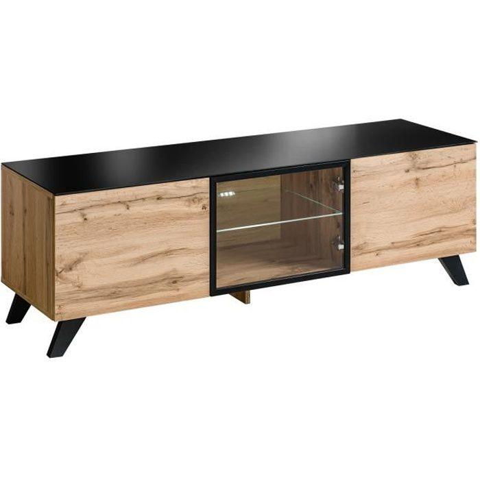 Meuble tv TINO. Idéal pour votre salon. Look tendance type industriel, bois, verre et métal. 45 Marron