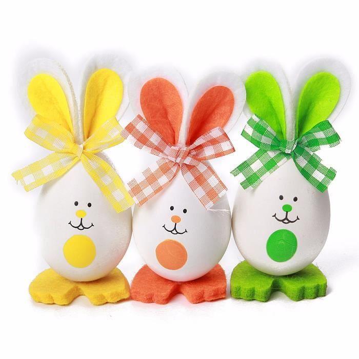 TEMPSA 3pcs Oeufs de Pâques Lapin Pour Décoration Fête Enfant Jouet Cadeau TYPE C