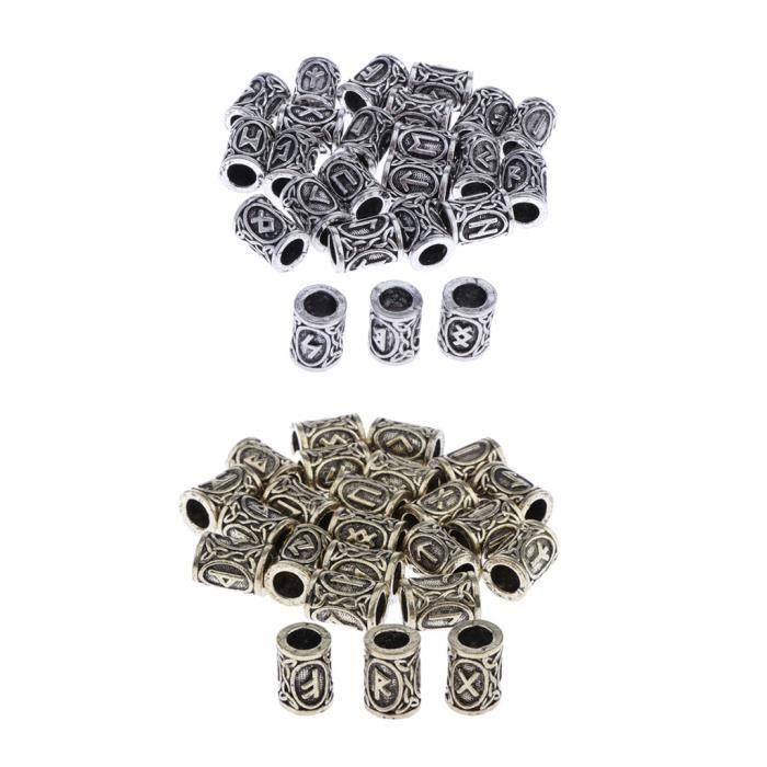 48pcs Perles Runiques Perles de Rune Viking pour Barbe Cheuveux