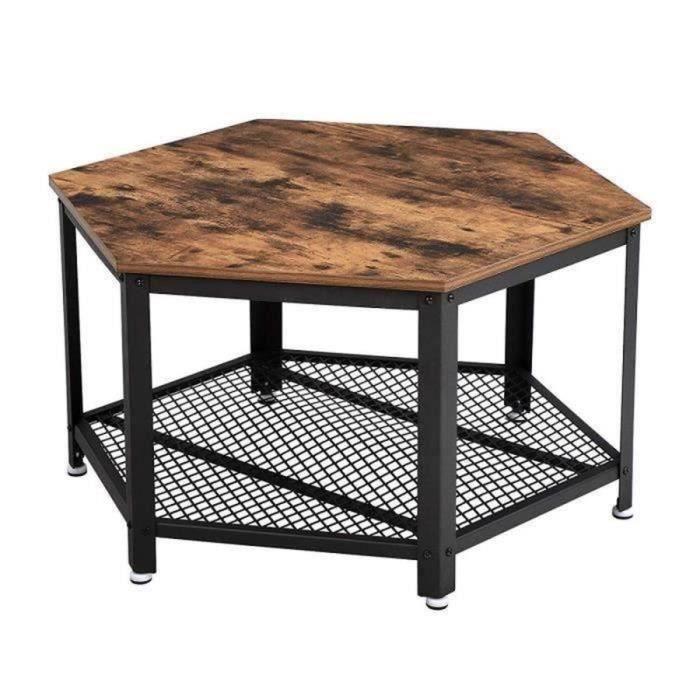 VASAGLE Table Basse Vintage, Table d'appoint, Table de Salon, Étagère de Rangement en Treillis, Hexagonal, Aspect Bois LCT16X
