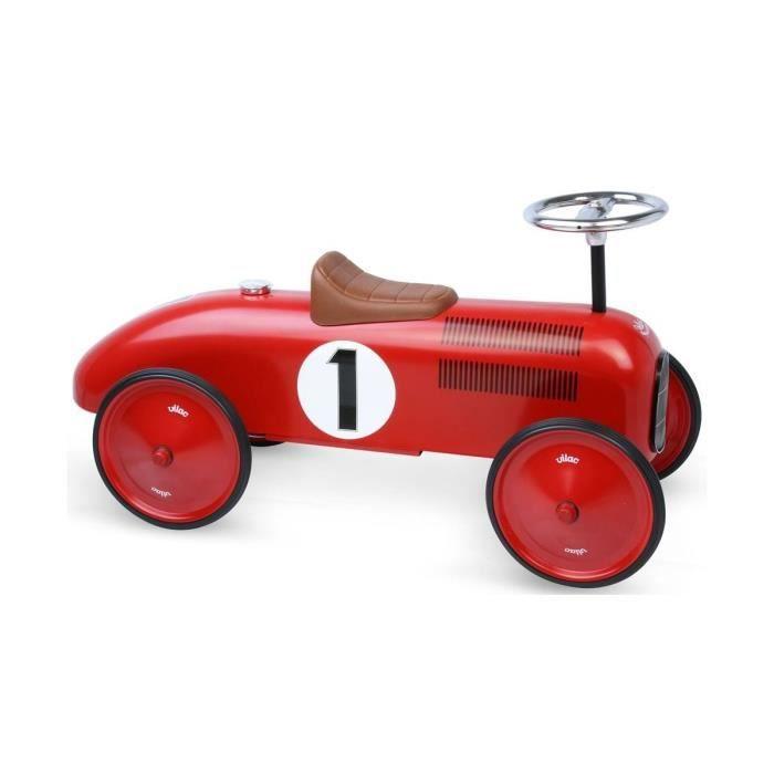 Porteur Vilac Voiture de course retro en metal rouge - Jouet Enfant