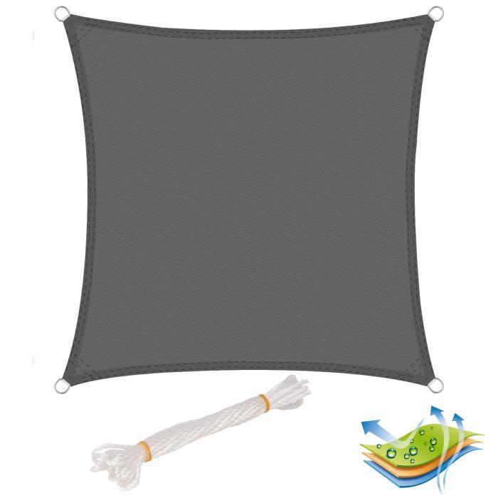 WOLTU Voile d'ombrage carré en polyester, protection contre le soleil avec protection UV pour jardin ou camping,3x3m, Gris