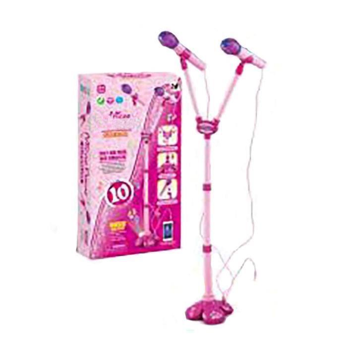 Machine de karaok/é pour enfants avec 2 microphones support r/églable jeu de musique jouets ensemble jouets et loisirs /éducation