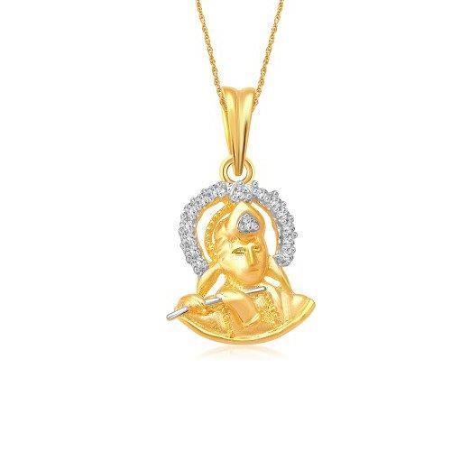 Womens Krishna God Pendant With Chain For ,gold Plated In American Diamond Cz Jewellery Gp0257 EBV10