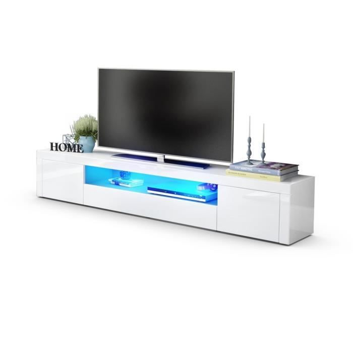 meuble tv design laqu haute brillance blanc 200 cm avec led achat vente meuble tv meuble tv. Black Bedroom Furniture Sets. Home Design Ideas