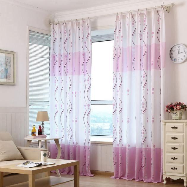 RIDEAU RIDEAU - DOUBLE RIDEAUX Imprimer Violet frais Ride