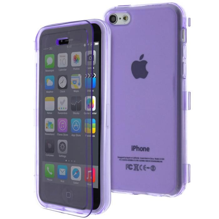 Coque clapet translucide apple iphone 5c violet achat for Housse iphone 5 c