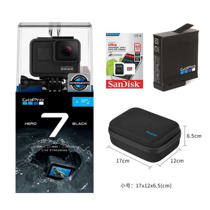 CAMÉRA ELECTRONIQUE GOPRO Hero7 noir + batterie + carte TF 64 Go + sac