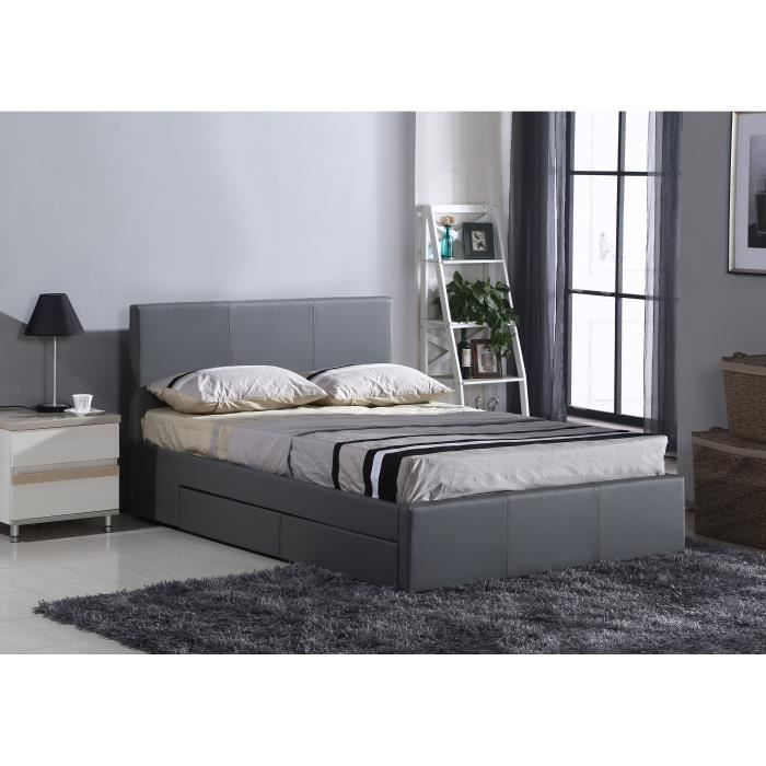 luxe lit adulte avec rangement 140x190cm sommier gris. Black Bedroom Furniture Sets. Home Design Ideas