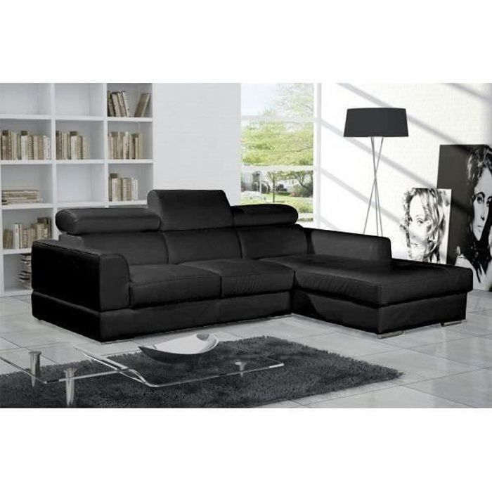 canap d 39 angle neto noir design cuir achat vente canap sofa diva. Black Bedroom Furniture Sets. Home Design Ideas