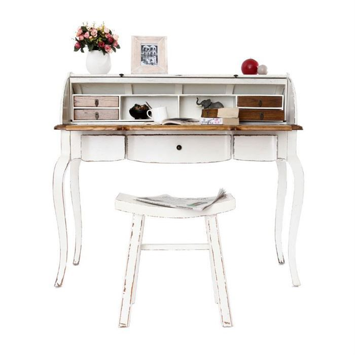 bureau baroque bois blanc sofia achat vente bureau bureau bois blanc sofia cdiscount. Black Bedroom Furniture Sets. Home Design Ideas