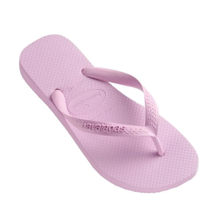 Tong Havaianas Top Mix Hot Pink, rose bleu pale et violet.