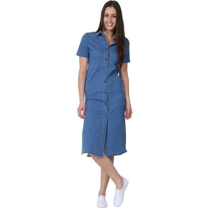Robe En Jean Robe Denim Pour Femmes Bleu Achat Vente Robe Cdiscount