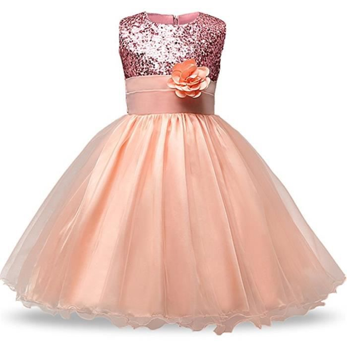 Waiwaizui Enfant Petite Filles Robe Demoiselle D Honneur Robe De Bapteme Ceremonie Petales Noeud Papillons Rose Achat Vente Robe De Ceremonie Cdiscount