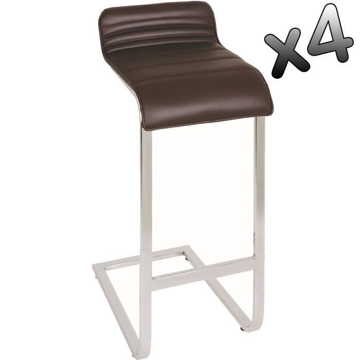 lot de 4 tabourets de bar en acier chrom color achat vente tabouret de bar acier chrom. Black Bedroom Furniture Sets. Home Design Ideas