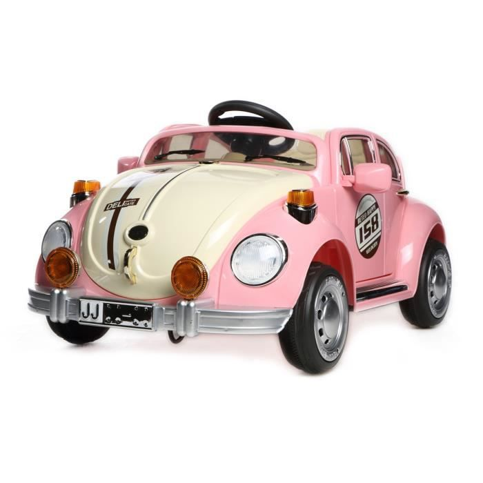 voiture lectrique enfant rose coccinelle beetle 12v t l commande parentale achat vente. Black Bedroom Furniture Sets. Home Design Ideas