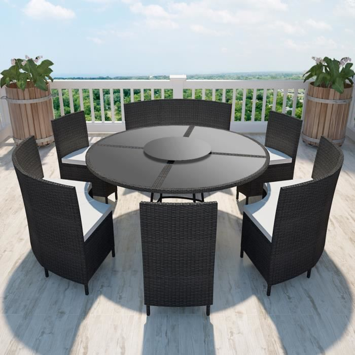 salon de jardin noir en polyrotin table ronde et chaises 12 pers achat vente salon de. Black Bedroom Furniture Sets. Home Design Ideas