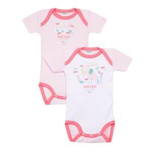 BODY Lot de 2 bodies bébé Fille ABSORBA - 100% coton -