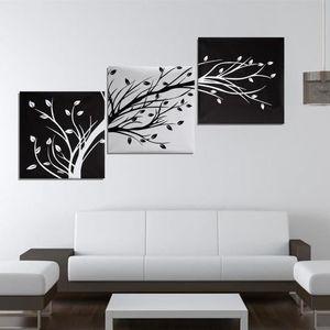 OBJET DÉCORATION MURALE 3Pc Tableau Peinture à l'huile l'arbre en Toile Ar