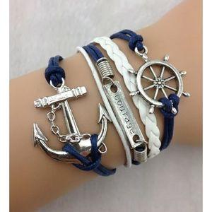BRACELET - GOURMETTE Bracelet roue de bateau, ancre courage