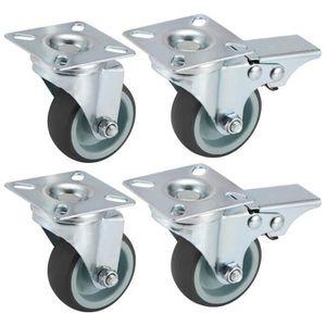 Lot de 4 41mm Blanches Roulette Pivotante avec Frein,roulettes de Meubles,Petites Roues,Pas de Bruit//r/ésistant /à lusure,attelle en U