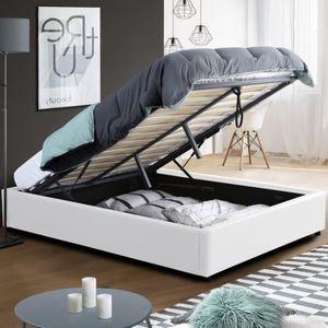 STRUCTURE DE LIT Lit coffre MIAMI PVC blanc avec sommier 140 x 190