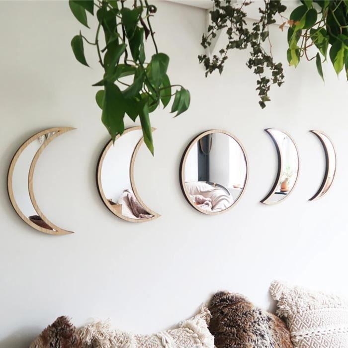 Miroir décoratif en bois de style nordique miroir de phase de lune miroir acrylique de chambre à coucher CZZ200618005BW_5462