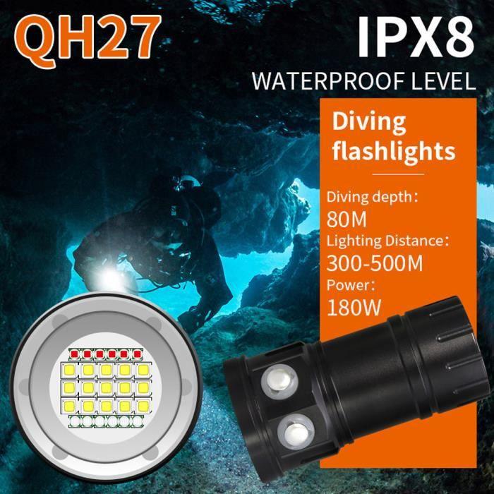 LAMPE ELECTRIQUE - LAMPE DE POCHE - BALADEUSE Torche Lam étanche de photographie sous-marine IPX8 de lampe-torche de plongée de