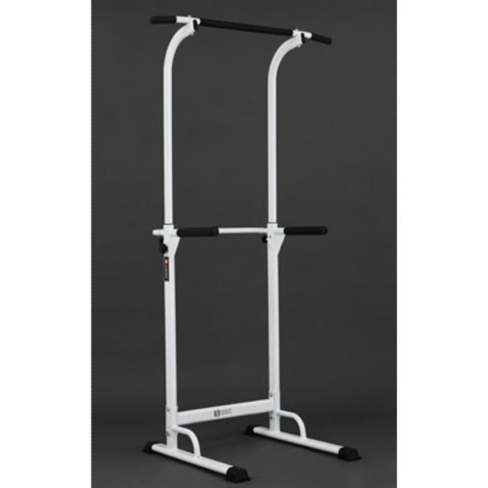 Barre de traction ajustable Station musculation Dips station Chaise romaine- Pull up bar - blanc