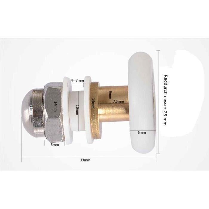 LESOLEIL 6pcs Roues Roulettes Rouleaux de Porte de Douche de Remplacement Diametre 25mm