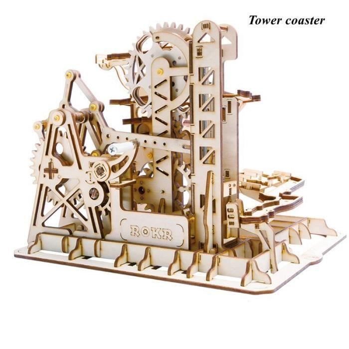 (NO4)marbre course jeu bricolage roue à eau en bois modèle Kits de construction assemblage jouet cadeau pour