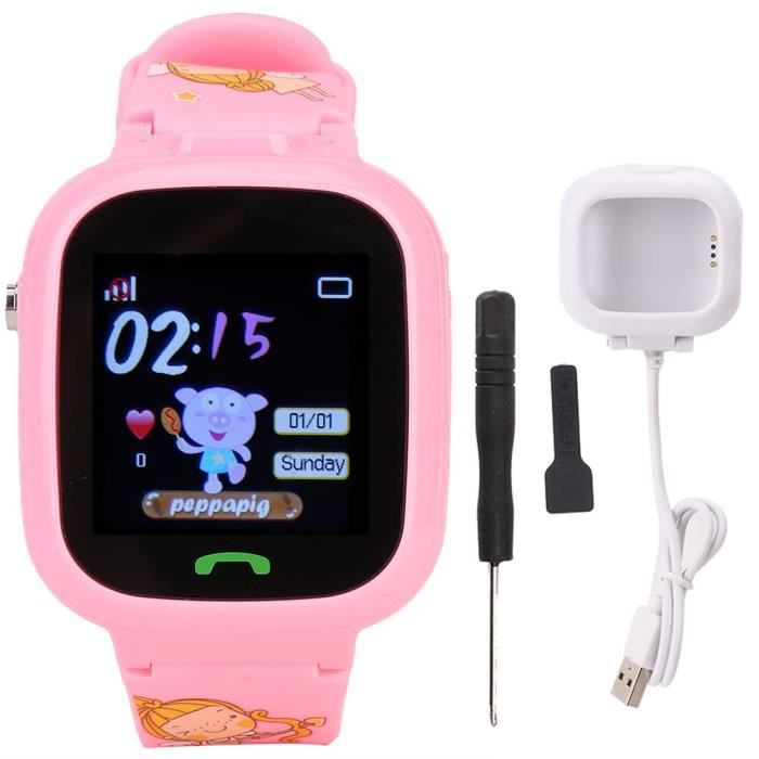 MEIHE Enfant Montre GPS étanche montre de positionnement caméra SOS réveil enfants Smartwatch (rose)