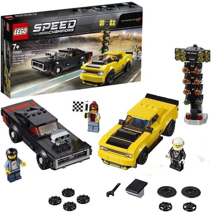 LEGO Speed Champions - Dodge Challenger SRT Demon 2018 et Dodge Charger R-T 1970 - 75893 - Jeu de construction
