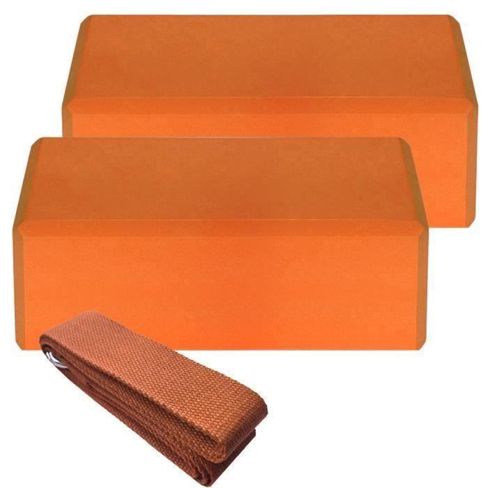 2pcs Yoga Bloquer moussant mousse brique exercice de remise en forme Stretching aide Gym + 1pcs Bande extensible orange