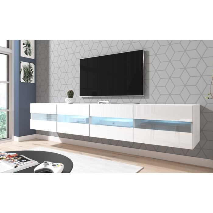 3xeLiving Meuble TV moderne et fonctionnel Murey blanc 200 cm LED