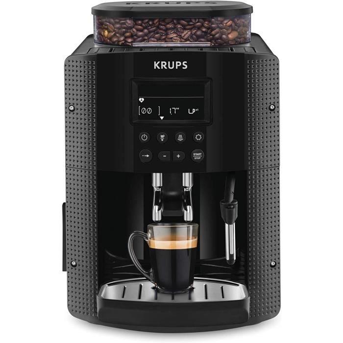 Krups Essential Machine à Café à Grain Machine à Café Broyeur Grain Cafetière Expresso Ecran LCD Nettoyage Automatique Buse Vapeur C