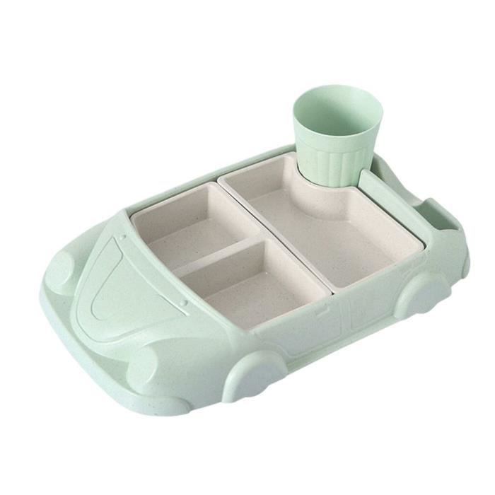 Couverts Bébé,Creative Cartoon voiture assiette bébé vaisselle ensemble bambou Fiber assiette + tasse sous - Type Vert clair#A