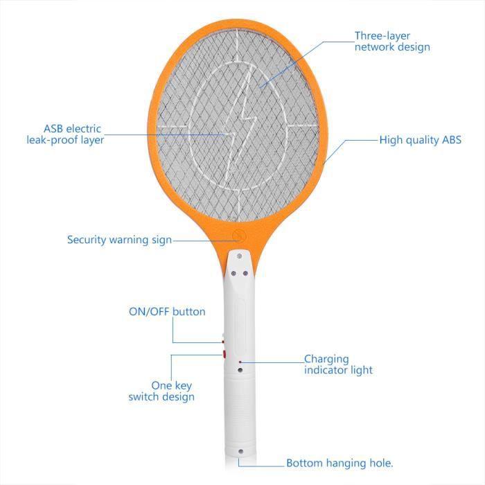 ZJCHAO Tapette à moustiques électrique Tapette de moustique électrique rechargeable sans fil Bug Zapper Raquette Insectes Killer