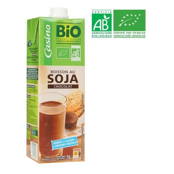 CASINO BIO Boisson Soja Calcium Choco 1l