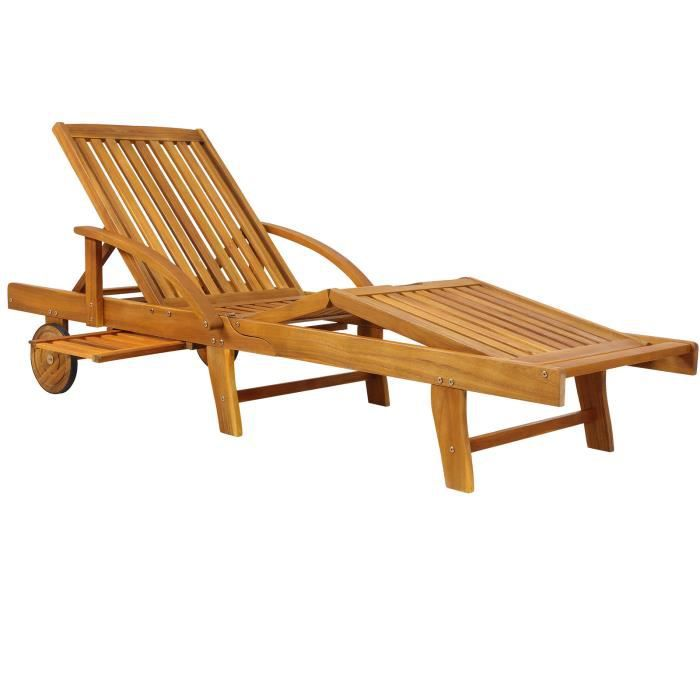 Chaise longue Tami Sun en bois d'acacia 200cm transat bain de soleil chaise de jardin extérieur balcon terrasse