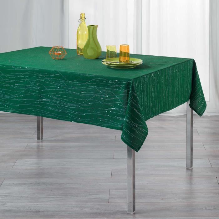 CDaffaires Nappe rectangle 140 x 300 cm polyester applique filiane Emeraude