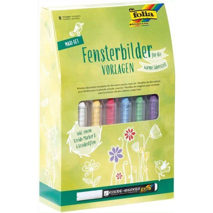 Folia Maxi Set de Stickers pour fenêtre pour Les Saisons Chaudes avec 8 modèles de Peinture, 1 marqueur à Craie et 6 marqueurs à C