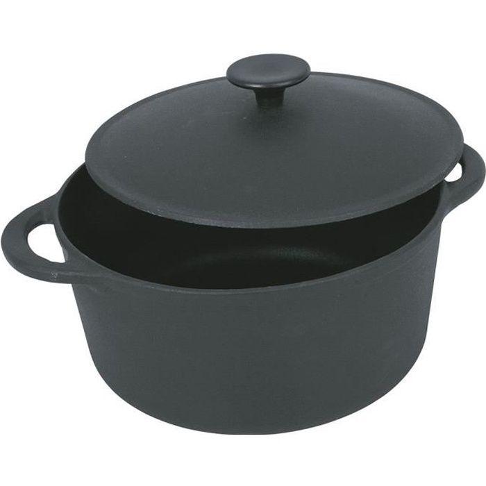 CREALYS GOURMET Cocotte ronde en fonte d'acier émaillée - Ø 26 cm - 5 L - Noir - Tous feux dont induction