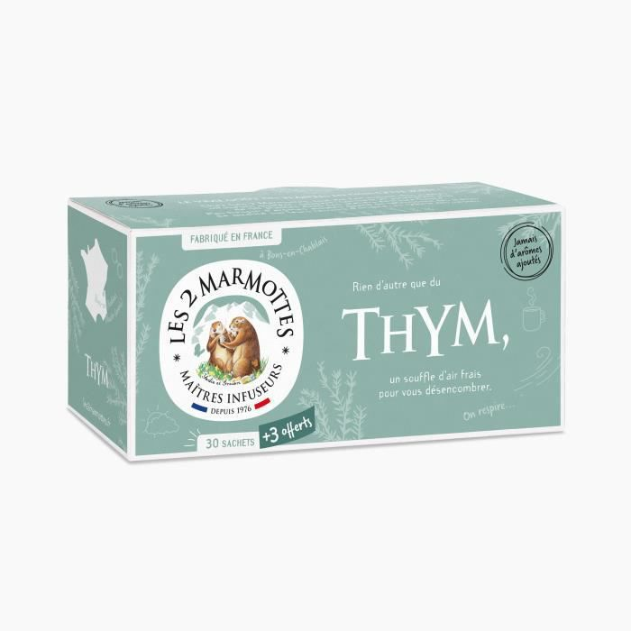 Les 2 Marmottes - Infusion -Thym- 30+3 sachets - Thym - Made In France - Sans arômes ajoutés