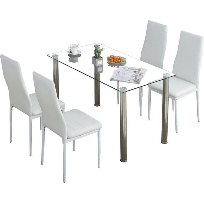 Lot de 4 chaises de salle à manger en simili, Chaise de cuisine,cuir artificiel, Style contemporain, Blanc, 4 pcs-Mondeer