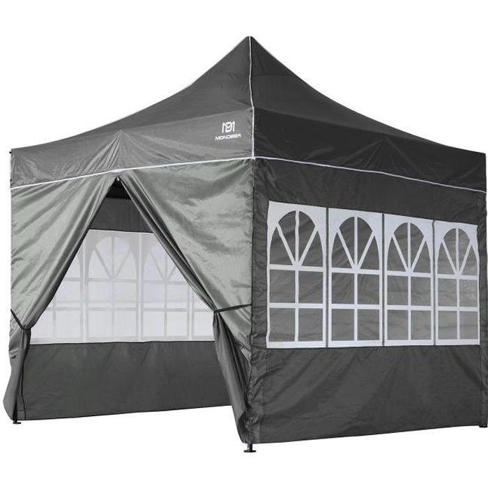 Tonnelle de Jardin 3mx3m Tente de Reception Pliante avec 4 Parois Latérales et Fenêtres pour Fête, Festival, Gris - Mondeer