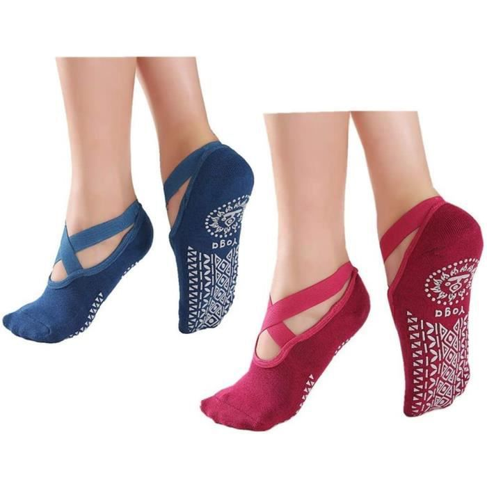Demeuble® Chaussettes de Yoga antidérapantes pour Femme, Chaussettes de Pilates antidérapantes avec poignées
