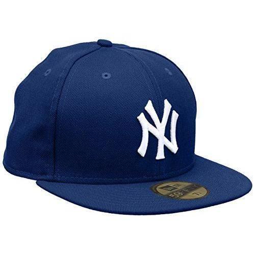 New era-casquette baseball homme basic bonnet nY yankees mLB 59 fifty fitted Bleu Bleu roi/blanc 7 1/8