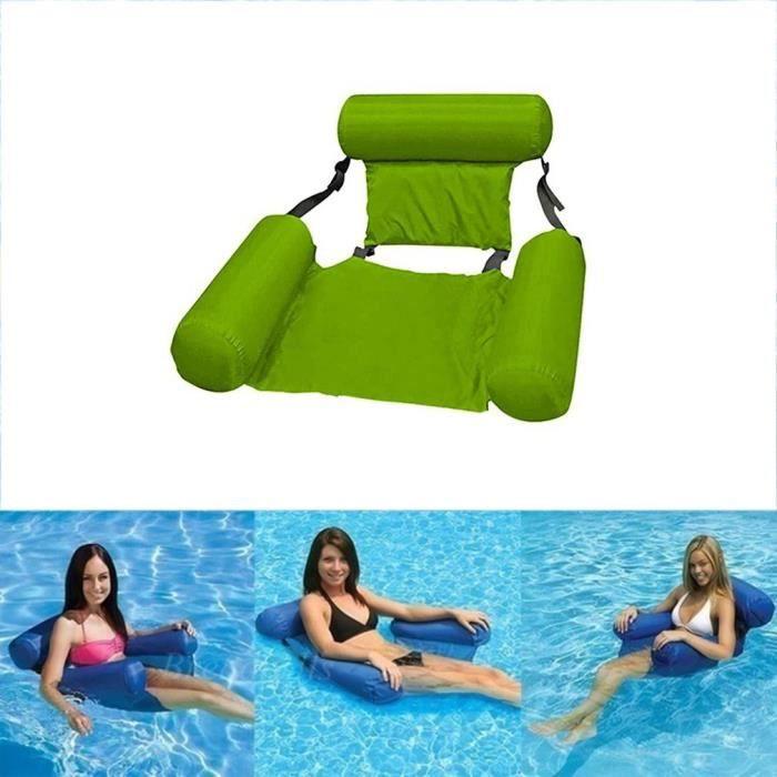 dossier de lit flottant gonflable à eau pliable chaise de drainage flottante vert